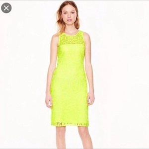 NWT J Crew Lace Neon Yellow Dress